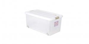 穌活整理箱(附輪及內藏式防蟲盒) Storage Box- with Roller Item NO. 03005-1(74L) Size. W740xD410xH340mm *附輪 底層附加活動輪,方便移動 *貼心設計 內藏式防蟲盒,亦可做防潮盒使用