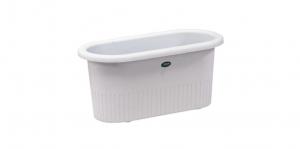 小太陽花盆橢圓 Flower Pot Device Item No. 9123 Size. W570xD270xH260 mm Color. 咖、白 *活塞設計 有止水、儲水功能,免用底盤
