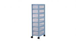 好幫手收納架-7層(附輪) Storage Cabinet -7 Drawers with wheels Item NO. AL07 Size. W240xD395xH990mm Color. 紅、藍、白 *附輪 底層附加活動輪,方便移動 *附分類隔板,方便收納 *可收納A4檔案、文具小物