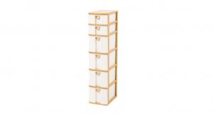 小物細縫架-六層 Storage Cabinet -4Deep, 2 Shallow Item NO. CD42 Size. W185xD265xH825mm Color. 柚木 *拉環設計 把手拉環設計,易拉好開 *可收納信件、卡片及帳單