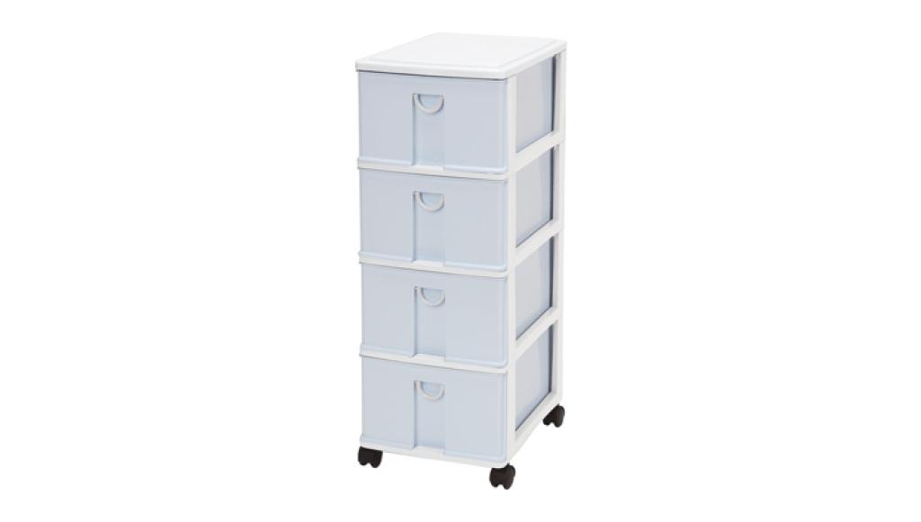 小生活組合櫃-四層(附輪) Storage Cabinet(S)- 4Drawers with wheels Item NO. NL340 (68L) Size. W305xD405xH820mm Color. 紅、藍 *貼心設計 抽屜下方有二個凸點,可防止開抽屜時突然掉落 *附輪 底層附加活動輪,方便移動