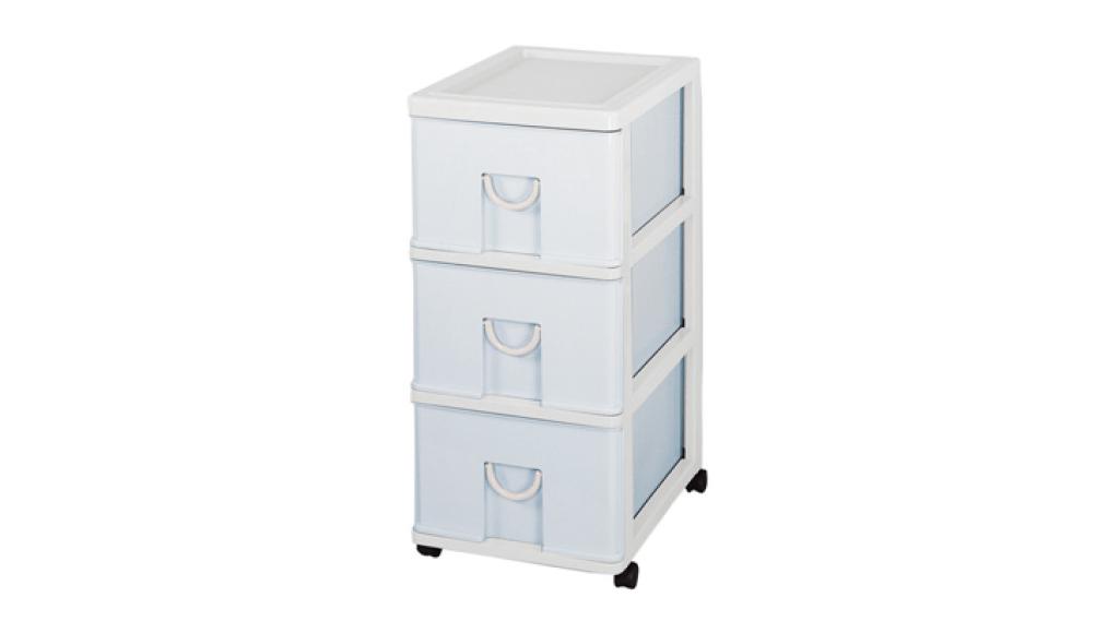 中生活整理櫃-三層(附輪) Storage Cabinet(M)- 3Drawers with wheels Item NO. NL630 (75L) Size. W360xD480xH750mm Color. 紅、藍 *貼心設計 抽屜下方有二個凸點,可防止開抽屜時突然掉落 *附輪 底層附加活動輪,方便移動
