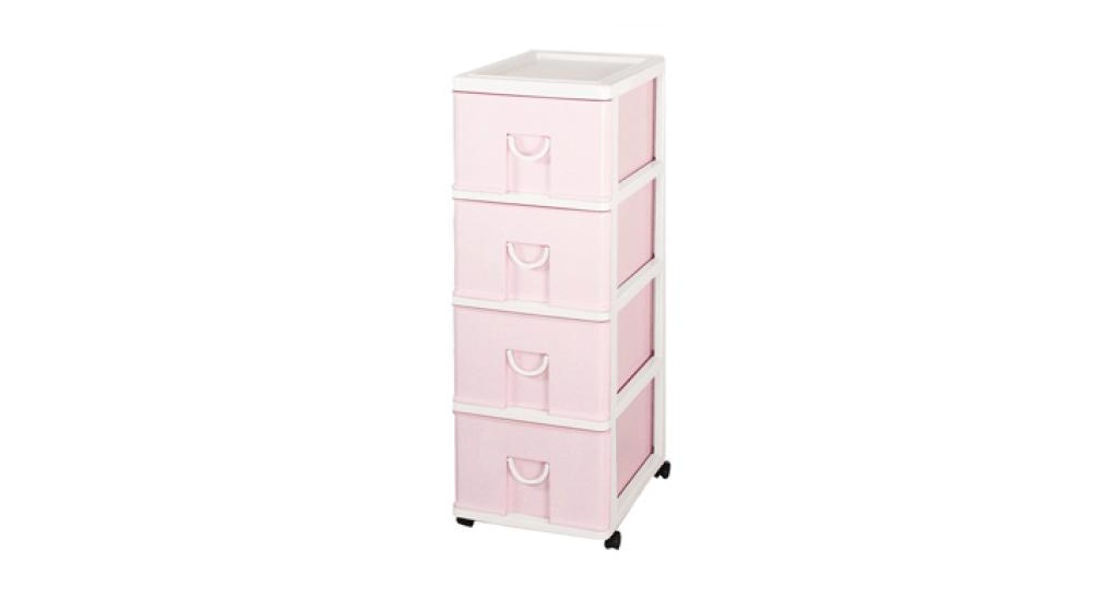中生活整理櫃-四層(附輪) Storage Cabinet(M)- 4Drawers with wheels Item NO. NL640 (100L) Size. W360xD480xH970mm Color. 紅、藍 *貼心設計 抽屜下方有二個凸點,可防止開抽屜時突然掉落 *附輪 底層附加活動輪,方便移動