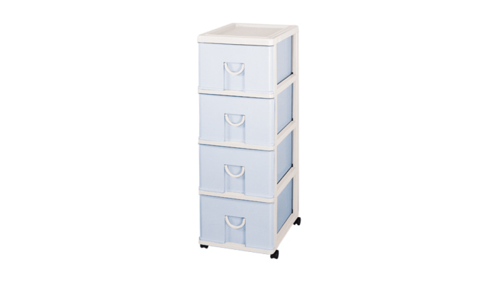 新生活置物櫃-四層(附輪) Storage Cabinet(L)- 4 Drawers with wheels Item NO. NL804 (160L) Size. W400xD530xH1130mm Color. 紅、藍 *貼心設計 抽屜下方有二個凸點,可防止開抽屜時突然掉落 *附輪 底層附加活動輪,方便移動