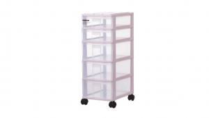 蘋果置物盒-五層(附輪) Storage Cabinet -3Deep, 2 Shallow with wheels Item NO. PA32 Size. W250xD355xH670mm Color. 紅、藍、白 *附輪 底層附加活動輪,方便移動 *透明抽屜,資料清晰可見 *可收納A4檔案、文具小物