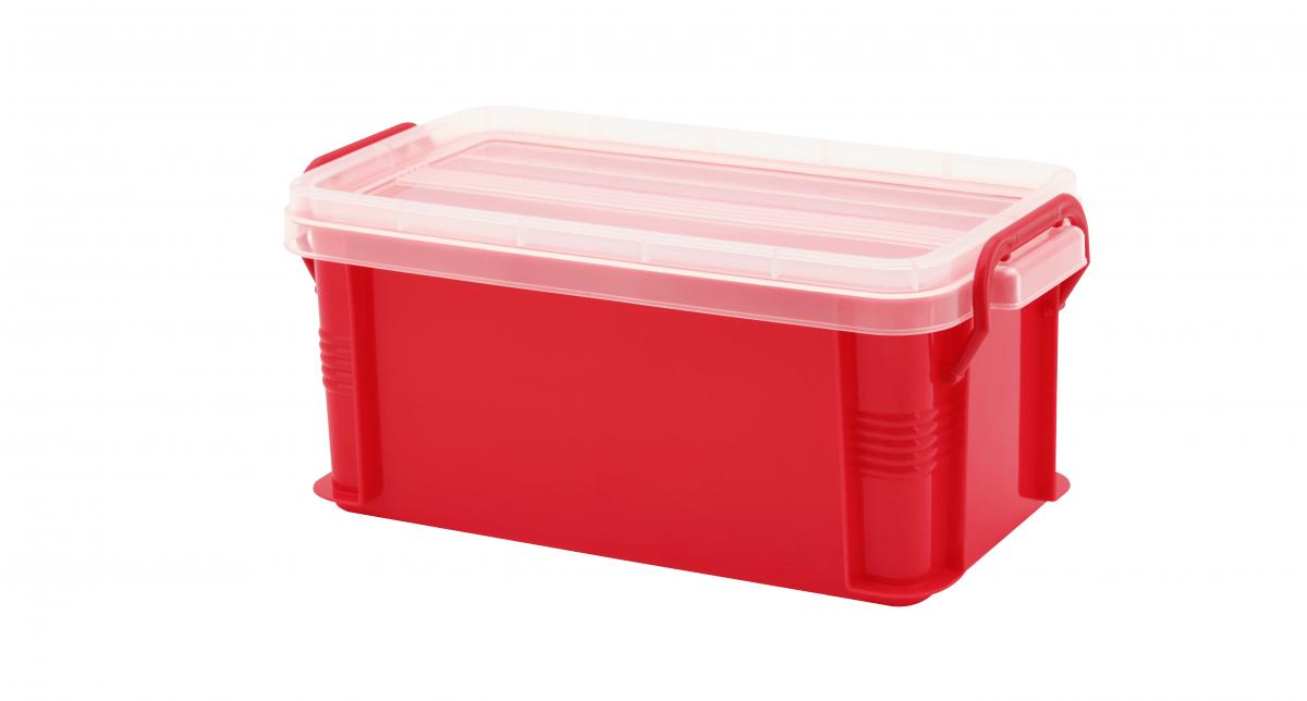 達人收納盒(S) Container (S) Item NO. ST-02(2.3L) Size. W260xD137xH115mm Color. 紅、藍、綠、橘 *把手設計 順暢好扣不易鬆脫 *堆疊設計 方便堆疊,節省空間