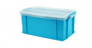 達人收納盒(L) Container (L) Item NO. ST-14(14L) Size. W430xD248xH190mm Color. 紅、藍、綠、橘 *把手設計 順暢好扣不易鬆脫 *堆疊設計 方便堆疊,節省空間