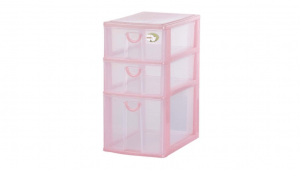 三層收納架-一大二小 Storage Cabinet -1 Deep, 2 Shallow Item NO. CD12 Size. W185xD265xH355mm Color. 紅、藍、綠 *拉環設計 把手拉環設計,易拉好開 *可收納信件、卡片及帳單 *透明抽屜,資料清晰可見