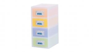 粉e彩妝盒4層-S型 Cosmetic Drawer(S)-4 Drawers Item NO. ED04 Size. W145xD200xH316mm *貼心設計 扣把部分附標示紙,分類方便 *可作為文具小物收納之用