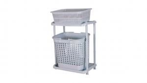 分類洗衣籃 Classified Basket Item No. JP210 Size. W480xD355xH740 mm Color. 白、藍 *上下層設計,可放置不同洗衣籃作為衣物分類之用,節省更多空間