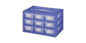 KA整理盒-九格 Carry Accessories Box- 9 Drawers Item NO. KA803 Size. W295xD200xH175mm *卡榫設計 抽屜不滑落,便於收藏物品 *貼心設計 把手設計隨身攜帶好便利