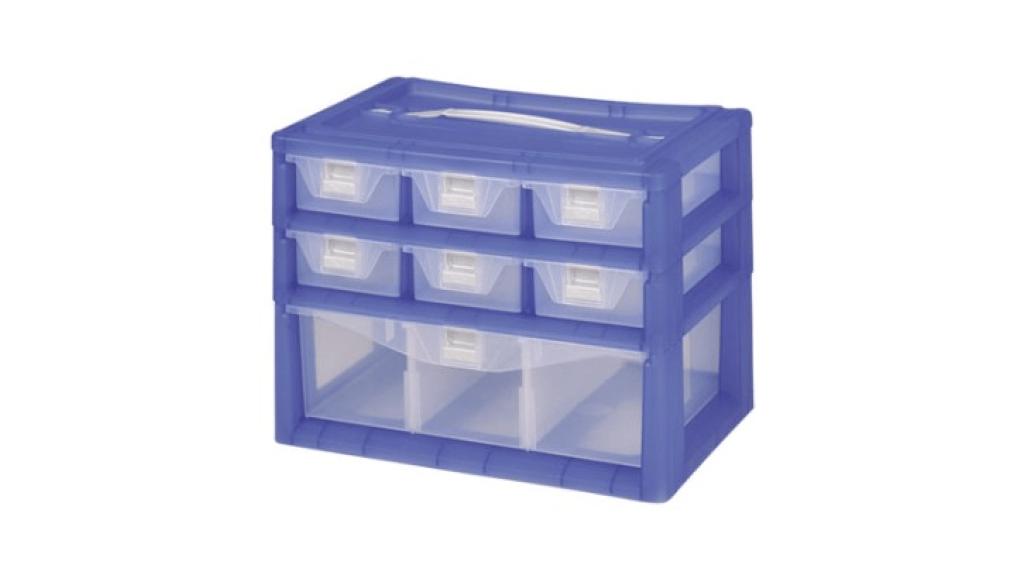 紅螞蟻手提置物盒-三層 Carry Accessories Box- 3 Layers Item NO. KD102 Size. W295xD200xH220mm *卡榫設計 抽屜不滑落,便於收藏物品 *隔板設計 空間使用更具靈活輕巧,可隨個人喜好放置不同的小物及零件